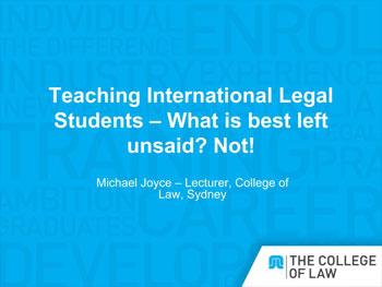 Michael-Joyce-Teaching-Int-Legal-Students-APLEC-2013